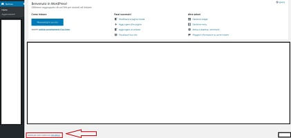 Il messaggio nel footer della dashboard di WordPress